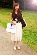 black top - white skirt