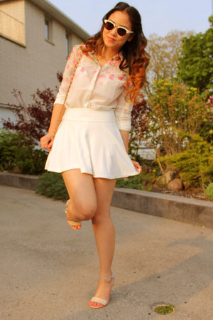 white H&M skirt - light pink floral asos blouse - nude strappy FCUK sandals