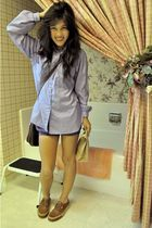 blue Marie-France blouse - purple American Apparel shorts