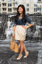 camel coach bag - navy banana republic shirt - beige Forever 21 skirt