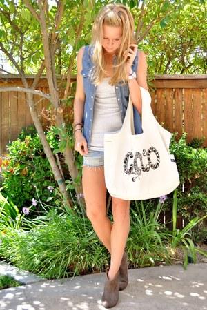 lauren moshi bag - Target boots - Victorias Secret shorts - Forever 21 vest