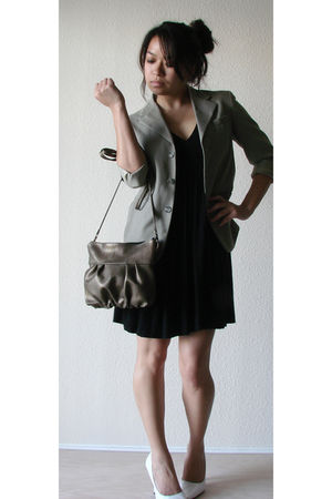 gold Jenny N Design purse - black banana republic dress - gray thrifted blazer -