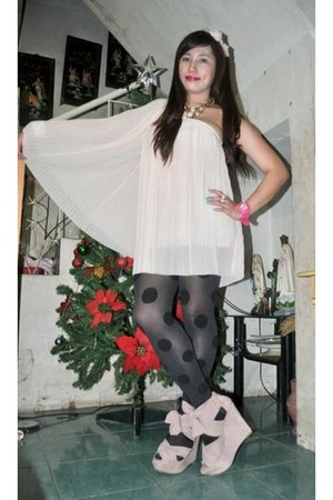 light pink Topshop dress - Topshop - pink Topshop shoes - Forever 21 necklace -
