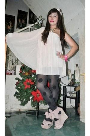 light pink Topshop dress - Topshop - pink Topshop shoes - Forever 21 necklace -