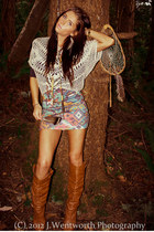 Nollie skirt - tawny faux leather Charlotte Russe boots - crochet unknown top