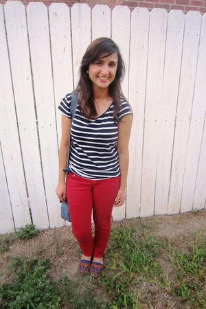 striped shirt Forever 21 shirt - Old Navy jeans - satchel Baggallini bag