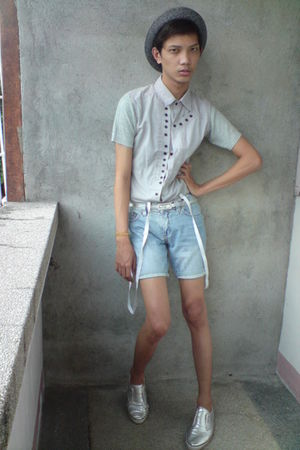gray paporma hat - gray korean store top - gray shorts - silver WADE shoes - whi