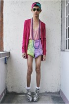 chartreuse Punk-x-Pretty shorts - red Wet Seal cardigan