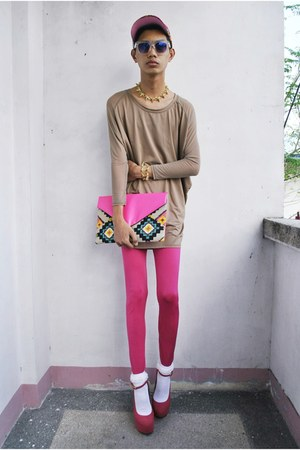 mpe leggings - Bubbles bag - F&amp;H sunglasses - asianvogue shop wedges