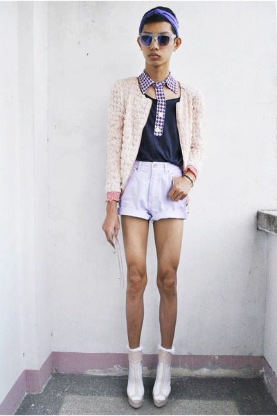 thrifted shorts - gifi clothing top - Punk-x-Pretty accessories - Parisian heels