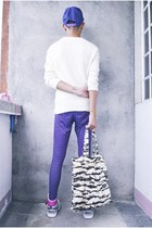 purple Claires leggings - ivory thrifted sweater - white nike sneakers