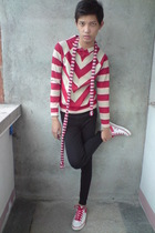 red Pony shoes - red vintage jacket - black leggings - red Oxygen scarf