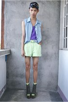 dark brown Soule Phenomenon wedges - blue H&M scarf - lime green Riders shorts