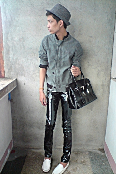 thrifted jacket - paporma hat - thrifted purse - Customized pants - art work sho