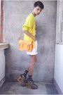 Black-gold-dot-boots-orange-cambridge-satchels-bag-white-thrifted-shorts