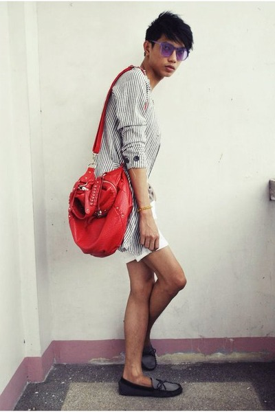 blue Urban Outfitters shoes - off white Vinatge jacket - red Marc Ecko bag - whi