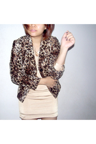 brown vintage jacket - gold seed dress