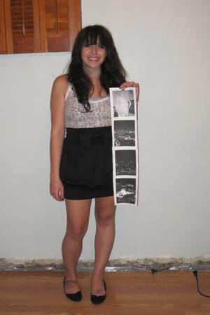 silver Forever 21 blouse - pink Forever 21 blouse - black Forever 21 skirt - bla