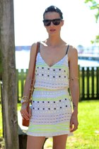 white sequined French Connection dress - white cross body brahmin bag