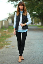 black skinny J Brand jeans - sky blue chambray Old Navy shirt