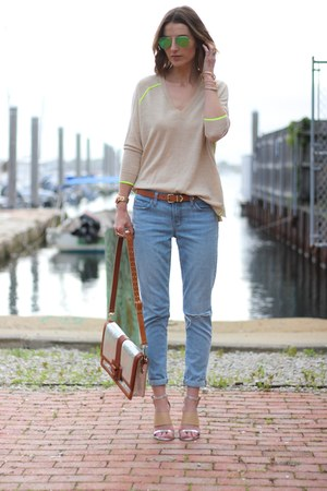 sky blue boyfriend J Brand jeans - beige v-neck JCrew sweater