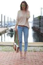 sky blue boyfriend J Brand jeans - beige v-neck JCrew sweater