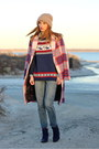 Navy-suede-aldo-boots-ruby-red-plaid-zara-coat-blue-boyfriend-goldsign-jeans
