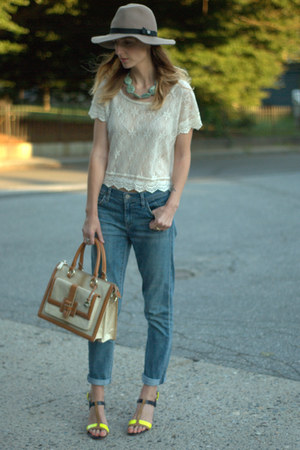 goldsign jeans - lace tee Marshalls shirt - atelier brahmin bag
