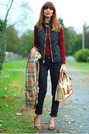ruby red checked Ralph Lauren shirt - neutral brahmin bag
