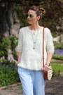 White-knit-chicwish-sweater-white-raffia-brahmin-bag