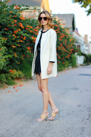black silk Gypsy05 shorts - white collarless talbots coat