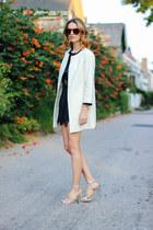 black silk Gypsy05 shorts - white collarless talbots coat
