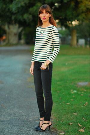 black skinny J Brand jeans - navy striped JCrew shirt