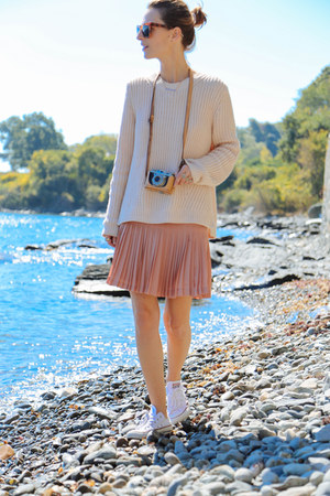 light pink knit Shopbop sweater - neutral striped JCrew shirt