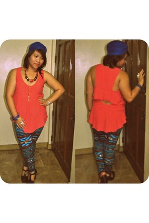 blue H&M leggings - blue turban Yhansy hat - coral warehouse blouse
