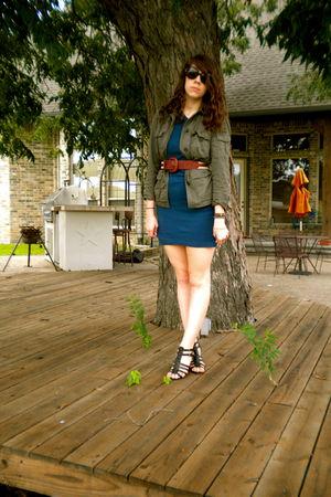 green JCrew jacket - blue American Apparel dress - brown vintage belt - black Ni