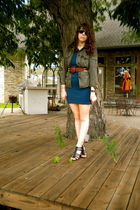 green JCrew jacket - blue American Apparel dress - brown vintage belt - black Ni