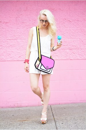 hot pink 2d Jump From Paper purse - white for elyse romper