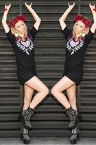 black Jeffrey Campbell boots - black Hold Steady Clothing Co dress