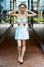 light blue velvet Tooth and Eye top - light blue velvet Tooth and Eye skirt