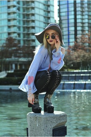 black Jeffrey Campbell boots - periwinkle wool wildfox couture sweater