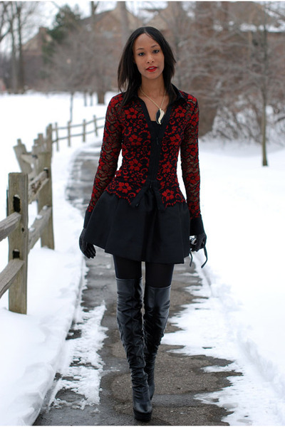 black Nine West boots - black Urban Outfitters skirt