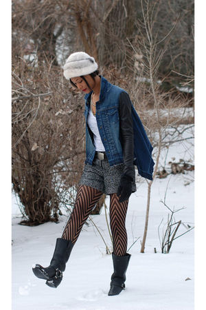 blue BCBG jacket - black Frye boots - white vintage hat - black Givenchy tights