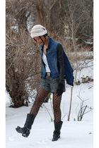 blue BCBG jacket - black Frye boots - white vintage hat - black Givenchy tights