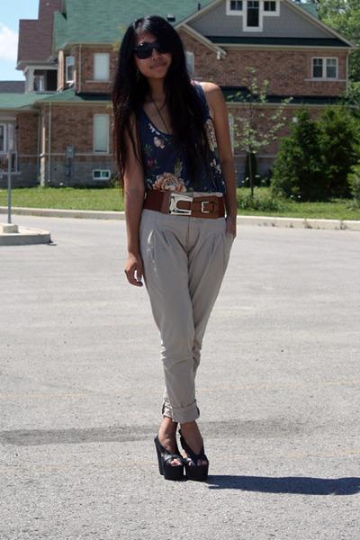 blue Topshop top - black Jeffrey Campbell shoes - beige Zara pants