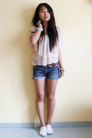 beige Mango top - white H&M shoes - silver Mango earrings - silver Topshop brace