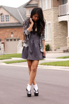 gray UO dress - gray H&M cardigan - black Jeffrey Campbell shoes