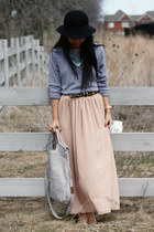 black H&M hat - heather gray foley  corinna bag - heather gray TNA top - peach a