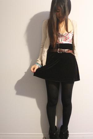 black velvet BCBG skirt - black Minnetonka shoes - beige H&M sweater
