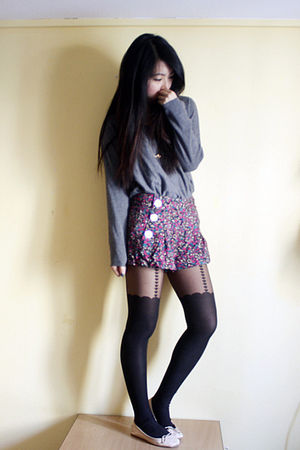 red River Island shorts - black Topshop tights - pink Topshop shoes